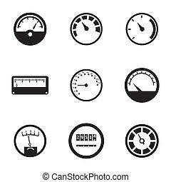 vektor, állhatatos, fekete, méter, ikonok