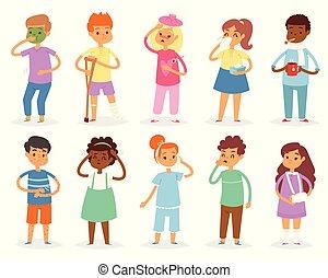 vektor, állhatatos, gyerekek, hőmérséklet, betegség, influenza, white háttér, elszigetelt, ábra, vagy, betegség, fertőző, levert gyermekek, hideg, gyerekek, fejfájás