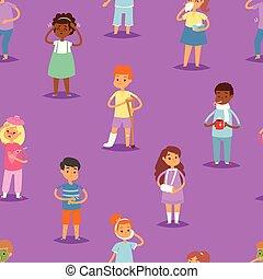 vektor, állhatatos, gyerekek, hőmérséklet, betegség, motívum, háttér, seamless, ábra, vagy, betegség, fertőző, levert gyermekek, influenza, hideg, gyerekek, fejfájás