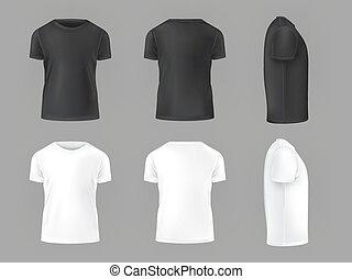 vektor, állhatatos, hím, trikó, sablon