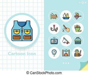 vektor, állhatatos, halászat, ikon