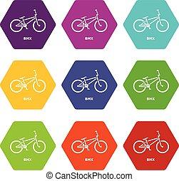 vektor, állhatatos, ikonok, bicikli, 9, bmx