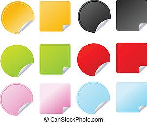 vektor, állhatatos, jelvény, többszínű