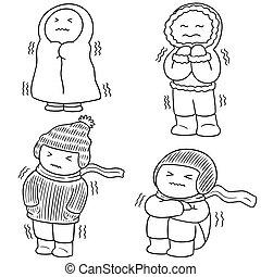 vektor, állhatatos, közül, emberek in, tél felöltöztet