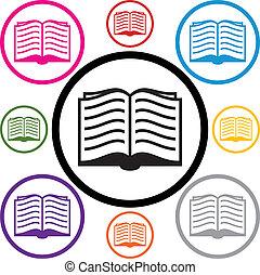 vektor, állhatatos, közül, könyv, jelkép