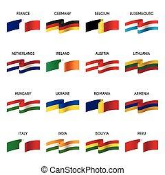 vektor, állhatatos, közül, nemzeti, zászlók
