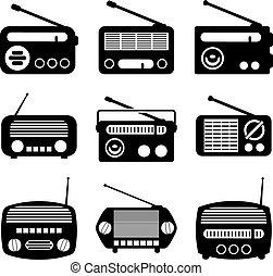vektor, állhatatos, közül, rádió, ikonok