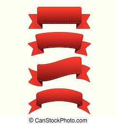 vektor, állhatatos, piros szalag