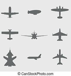 vektor, állhatatos, repülőgép, ikonok