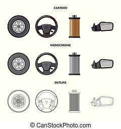 vektor, állhatatos, stock., autó, ábra, rész, autó, logo., ikon