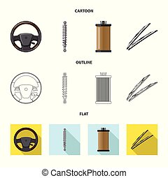 vektor, állhatatos, stock., autó elválás, tervezés, autó, logo., ikon