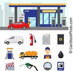vektor, állhatatos, szállítás, ikonok, benzin, autók, ...