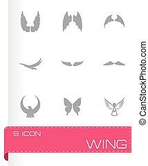 vektor, állhatatos, szárny, ikon