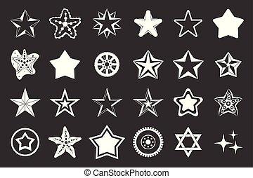 vektor, állhatatos, szürke, csillaggal díszít, ikon