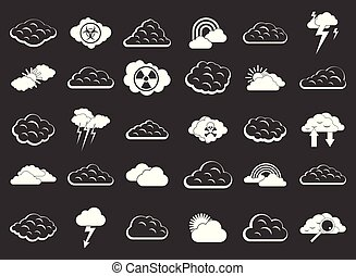 vektor, állhatatos, szürke, felhő, ikon