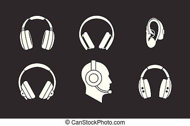 vektor, állhatatos, szürke, ikon, fejhallgató