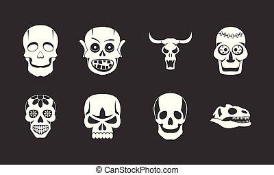 vektor, állhatatos, szürke, koponya, ikon