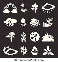 vektor, állhatatos, szürke, természet, ikonok