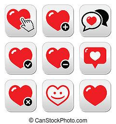 vektor, állhatatos, szeret szív, ikonok