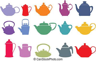 vektor, állhatatos, tizenöt, teapots, színes