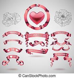 vektor, állhatatos, transzparens, nap, valentines