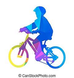 vektor, árnykép, kölyök, bicycle.