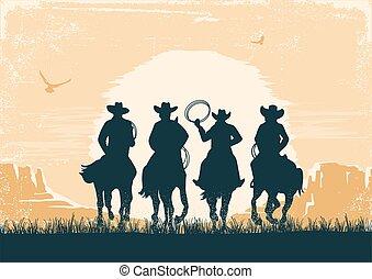 vektor, árnykép, kanyon, dolgozat, szüret, parkosít., nap, öreg, struktúra, cowboys, lovaglás, napnyugta, préri, lovak, dezertál