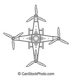 vektor, áttekintés, quadcopter, henyél, ábra