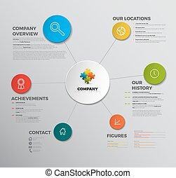 vektor, áttekintés, társaság, infographic, tervezés, sablon