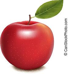 vektor, äpple, röd