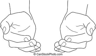 vektor, åbn, tom, hænder