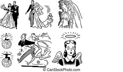 vektor, årgång, bröllop grafiker