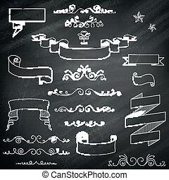 vektor, årgång, chalkboard, elementara