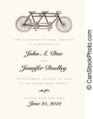 vektor, årgång, cykel, bröllop inbjudan