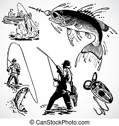 vektor, årgång, fiske, grafik