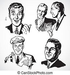 vektor, årgång, män, pekande, talande