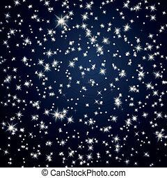 vektor, ég, csillaggal díszít, háttér, éjszaka