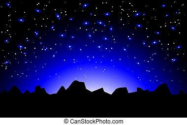 vektor, éjszaka, hely, táj