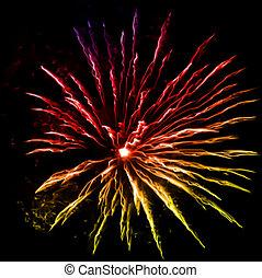 vektor, éjszaka, tűzijáték, sky.
