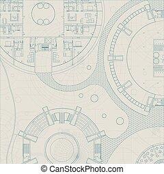 vektor, építészeti, blueprint.