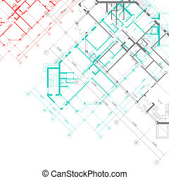 vektor, építészeti, háttér, alaprajzok
