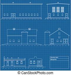 vektor, építészeti, háttér