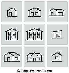 vektor, épület, állhatatos, fekete, ikonok