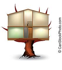 vektor, épület, elvág, fa.