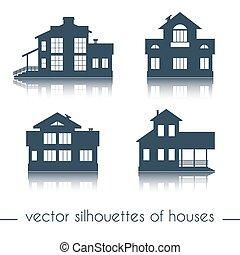 vektor, épület, körvonal, white, háttér