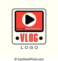 vektor, értesülés, játék, fogalom, timeline., folyik, háló, gombol, televízió, kreatív, adást sugároz, él, vlog., video, online, embléma, jel, icon., ellenző, vagy, csatorna
