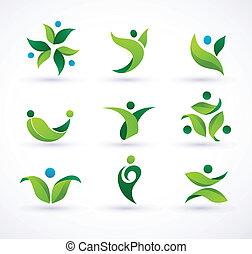 vektor, ökológia, zöld, emberek, ikonok
