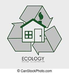 vektor, ökologie, design, illustration.