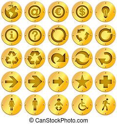 vektor, öreg, arany-, és, signboards