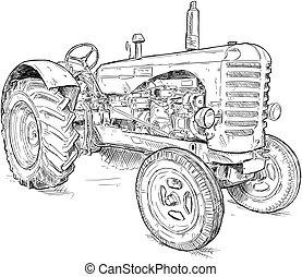 vektor, öreg, rajz, művészi ábra, traktor